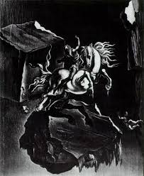 rock and infuriated horse sleeping under the sea 1947 salvador