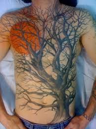 japanese sun and tree tattoos on chest in 2017 photo