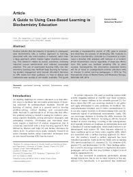 a guide to using case based learning in biochemistry education