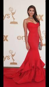 dress red dress nina dobrev emmys long dress sleeveless dress