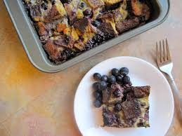 blueberry and chocolate chip bread pudding