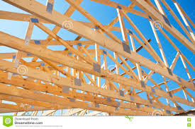 Frame House Roofing Construction Wooden Roof Frame House Construction Stock