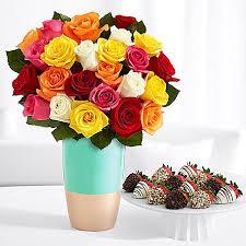 Long Stem Rose Vase 24 Long Stem Rainbow Roses With 12 Fancy Strawberries