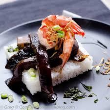 comment cuisiner les aubergines aubergines au coca gambas et riz à la cook n roll