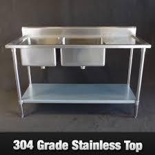 Stainless Steel Bench With Sink Steel Left Inlet Double Sink Bench 1800mm