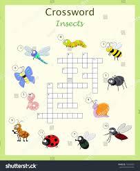 preschool worksheet crossword children cartoon insects stock