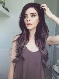 salt and pepper hair with lilac tips deep brown black melted into purple gray in my dreams winter