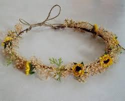 sunflower headband woodland dried style sunflower crown hair wreath bridal wedding