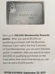 Business Platinum Card Amex Targeted American Express Business Platinum 150 000 Point Offer