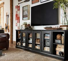 Long And Low Bookcase Printer U0027s Long Low Media Stand Pottery Barn