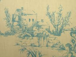 Shabby Chic Upholstery Fabric Wedgewood Blue And Cream French Toile De Jouy 100 Cotton Designer