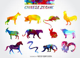 chinese zodiac colorful rooster vector download