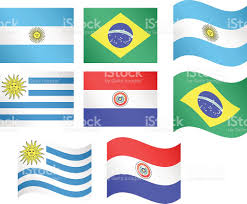 Argentina Flag Photo South America Flags Argentina Brazil Uruguay Paraguay Stock Vector