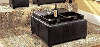 ottoman bonded leather storage ottoman with 4 tray flip tops 4