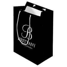 black and white personalized bridesmaid large gift bag