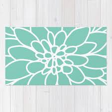 Mint Area Rug Modern Dahlia Flower Rug Area Rug Mint Green Pastel Decor