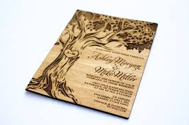 wooden wedding invitations tree engraved invitation wooden wedding invitation real wood