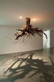 tree roots emerge from ceiling in an installation by giuseppe