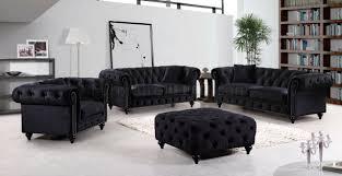 Chesterfield Sofa Velvet Fabric by Chesterfield 662bl Sofa In Black Velvet Fabric W Optional Items