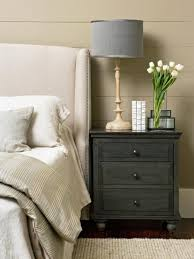 Dark Cherry Laminate Flooring Nightstand Astonishing Grey Headboard Painted Wall Wooden