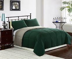 Down Double Duvet Luxury Black Metal Platform Bed With Dark Green Double Duvet Cover