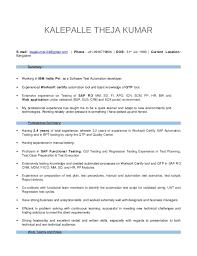Sap Experience On Resume Resume Of Theja Kumar 2 Years Exp Worksoft Certify Tool