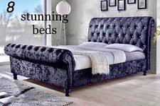 Chesterfield Sleigh Bed Chesterfield Crushed Velvet Sleigh Bed Frames Ebay