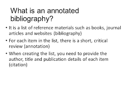 ANNOTATED BIBLIOGRAPHY IN MLA Writing the Research Paper
