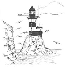 lighthouse coloring pages with birds for kids free coloring book