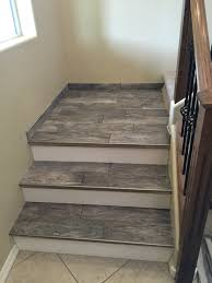 porcelain wood look tile stairs design and build pinterest