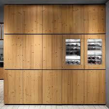 modern varnished pine wood kitchen cabinet with wine racks of