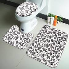 Pedestal Toilet 3pcs Coral Velvet Pebble Pattern Bathroom Mats Rugs Set Non Slip