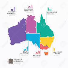 Concept Map Template Australia Map Infographic Template Jigsaw Concept Banner Vector