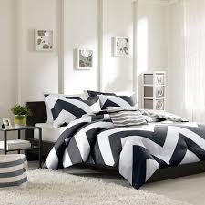 elegant black white u0026 grey chevron duvet cover bedding set