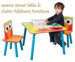 kids table chairs set sesame wood furniture children desk orange