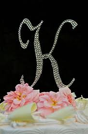 l cake topper swarovski monogram wedding cake topper large