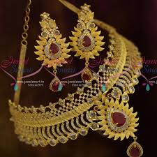 beautiful necklace designs images Nl10712 matte light gold plated polki ruby ad beautiful imitation JPG