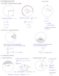 Area Of Sector Worksheet Math Plane Arc Length Sector Area