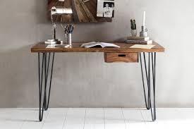 Holz Schreibtisch H Enverstellbar Finebuy Schreibtisch Haora Braun 130 X 60 X 76 Cm Massiv Holz