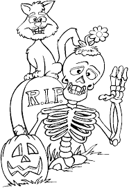 coloring a skeleton a tomb stone a black cat and a pumpkin for