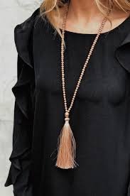 beaded tassel necklace images Emery beaded tassel necklace blush groovy 39 s png