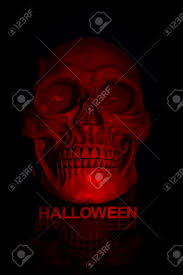 halloween word background close up of skull with letters below spelling out the word