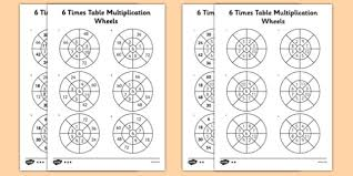 wheels world play table 6 times table multiplication wheels worksheet activity sheet