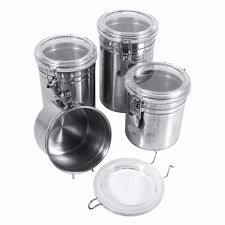 stainless steel sealed canister jar home kitchen coffee sugar tea