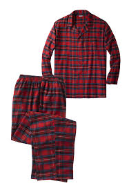 big and plaid flannel pajama set robes sleepwear for