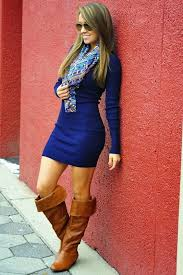 trendy sweater dress with long boots fashion looks for ladies