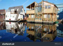 colorful floating houses famous fishmans wharf stock photo