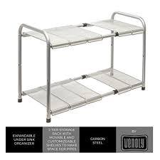 easy home expandable under sink shelf amazon com expandable under sink organizer 2 tier storage rack