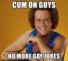 Gay Jokes Meme - cum on guys no more gay jokes gay richard simmons meme generator