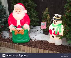 illuminated plastic father christmas and snowman decorations for